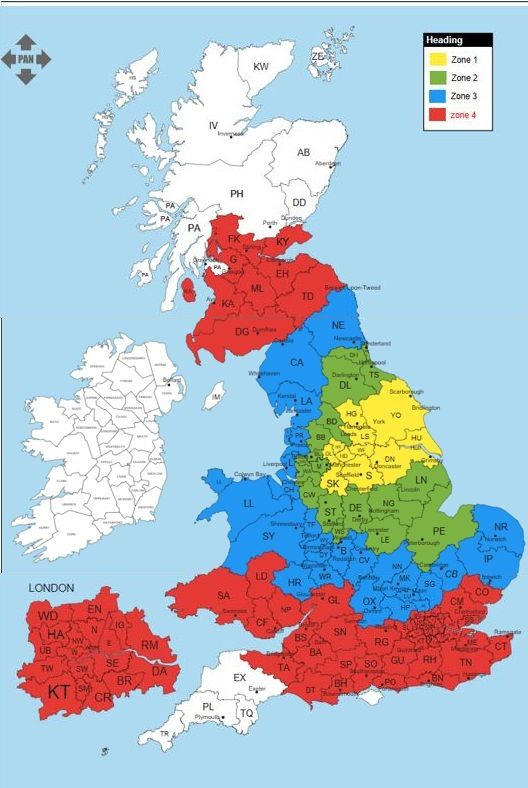SESKU zone map of UK for Aardvark joinery cab